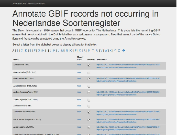 Figure​ ​4.​ ​Screen​ ​shot​ ​of​ ​the​ ​Annotation​ ​GUI​ ​with​ ​the​ ​list​ ​taxa​ ​potentially​ ​missing​ ​in​ ​the​ ​checklist​ ​of​ ​the​ ​Netherlands.